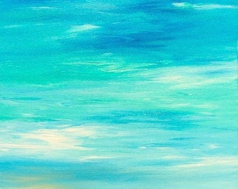 LARGE Seascape Beach Painting Modern Ocean Painting Contemporary  Beach Art Abstract Blue Tropical Caribbean Modern Original Seascape