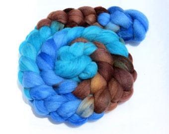 Hand Dyed Merino/Tussah Silk Top 4.2 oz - Sand & Sea