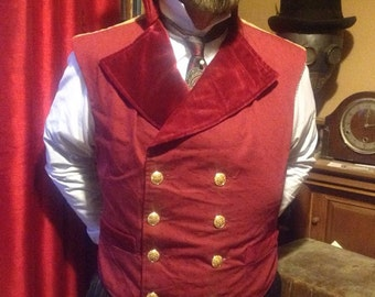 "Steampunk Classic Sweeny Todd  Ruby and gold Waistcoat 36""- 40"" Chest."