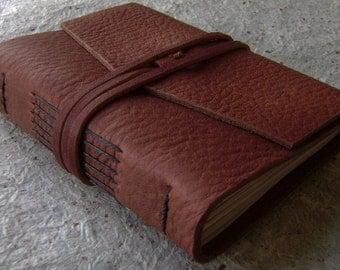 "Small Leather Journal, 3.5""x 4.5"", rustic brown, handmade journal, travel journal, pocket journal, (2427)"