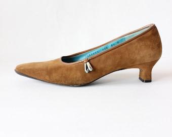 Vintage Southwestern Brown Suede Salvatore Ferragamo Heels, size 8.5