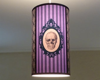 Purple Skull striped lamp shade lampshade ceiling light Baroque Skull - unique lighting, hanging chandelier, violet lamp,gothic decor,damask