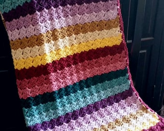 Crochet Blanket Afghan Lapghan Rainbow Striped Multicolored Ready To Ship