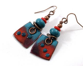 Turquoise and Red Copper Enamel Earrings, Tribal Earrings, Artisan Earrings, Copper Earrings, Boho Chic Earrings, Boho Earrings,Small, AE190