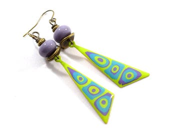 Purple and Green Dagger Boho Chic Earrings, Brass Earrings, Turquoise Earrings, Artisan Earrings, Green Earrings, Paint and Resin,AE181