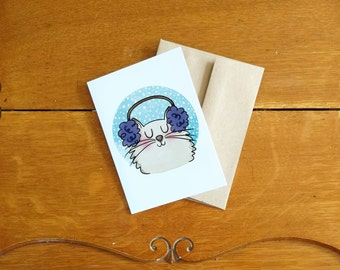 Earmuffs Cat card