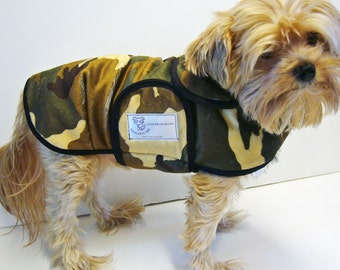 Green Camo Minky Dog Coat  20 dollars to 50 dollars depending on the size by Doodlebug Duds