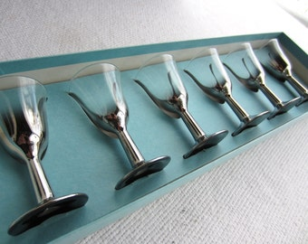 Vintage Mid Century Silver Fade Cordial Stem Glasses Queens Lusterware Mad Man Barware Set of 6 Box