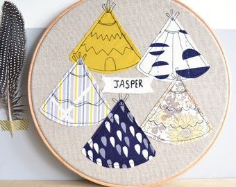 Tipi Personalised Baby Name Embroidery Hoop Picture