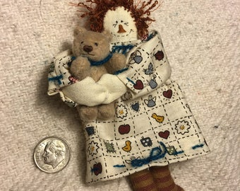 Miniature Handsewn Rag Doll & Teddy Bear