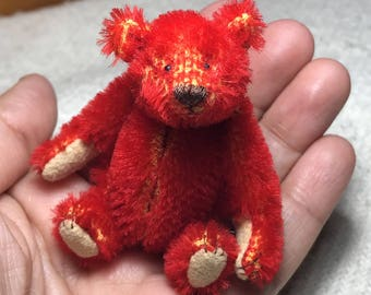 Miniature Hand Sewn 3in. ALFONSO RED Mohair Teddy Bear