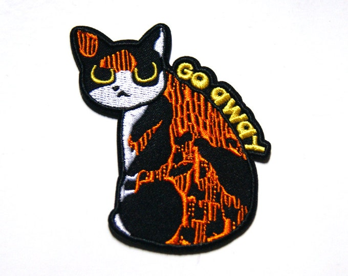 Featured listing image: Go Away Iron On Kitty Patch