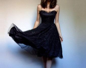 Gunne Sax Dress Black Strapless Dress Vintage 80s New Years Dress Sparkly Party Dress Women - Extra Small XXS