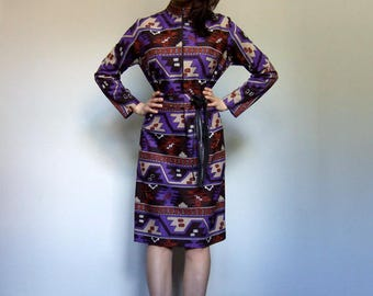 60s Dress Purple Dress Psychedelic Clothing Mod Dress Vintage Long Sleeve Dress - Large to Extra Large L XL