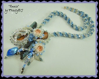 TN-044-2016-161 - Amaia - Bead embroidered necklace, beaded necklace, peyote necklace, crystal necklace, beadweaving, beadwoven necklace