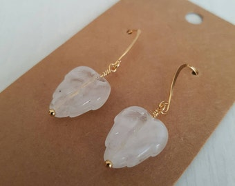 Clear glass leaves, wire wrapped, gold plated  earrings.