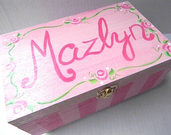 Hand Painted Jewelry Boxes-wedding gift-flower girl gift-personalized wooden box-bridesmaid gift