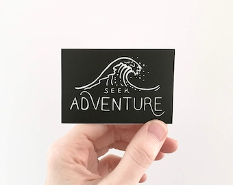 Seek Adventure. Ocean Wave Vinyl Sticker Laptop Sticker Surfing Sticker Kayaking Car Decal Surfer Bumper Sticker Watersports MacBook Decals
