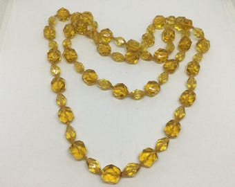 Art Deco Vintage Amber Glass Beads Handknotted Strand