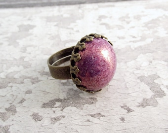 Purple glass ring, glass ring, adjustable ring, bronze ring, czech glass ring