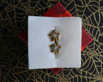 Vintage Atomic  Starburst Stud Earring Set in Golden Yellow Star with Silver- Deadstock