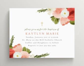 soft floral baptism invitation // bridal shower // birthday // baby shower // thank you note // modern // simple // pink // spring // summer