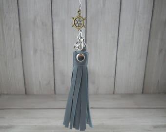 Nautical Charms  Nautical Necklace  Tassel Necklace  Leather Tassel  Leather Tassel Necklace  Upcycled Jewelry  Repurposed Jewelry 