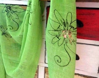 Green Passion Flower Print Scarf