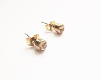 Gold citrine earrings: Peachy costume citrine round yellow gold plated stud earrings,  gold tone costume citrine earrings, citrine studs
