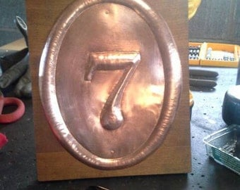 Hammered Copper House Number For Shartupe
