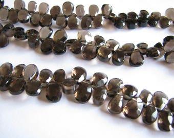 Smoky Quartz faceted pear briolette, brown gemstone beads, smokey quartz, 7.5 inch strand, 8-9mm (w152)