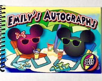 Disney BEACH Mickey Mouse and Minnie Mouse Autograph Book  - perfect for Aulani Hawaii