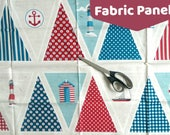 Large Fabric Panel Cotton Ahoy. Red & Blue Nautical Bunting. Ready to cut and sew.  Patchwork Applique Quilting Freehand Embroidery
