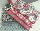 """Fabric Pack Cotton Downton Abbey pink, grey and green. Large 10"""" square pieces for Patchwork Applique Quilting Freehand Embroidery"""