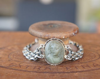 Antique Assemblage Bracelet with 19th Century Lava Cameo Pocket Watch Chain and Rhinestone Clasp
