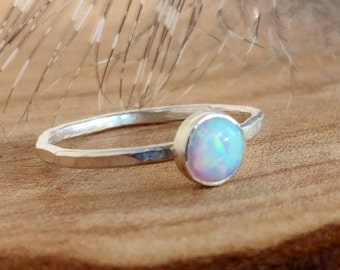 White Opal Ring -  Sterling Silver - Opal Gemstone Stackable Rings - Gemstone Rings for women -Dainty Ring