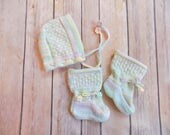 Baby Bonnet and Booties Set, Knit Baby Bonnet, Baby Girl Crib Shoes, Rainbow