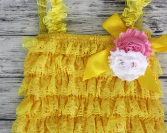 Baby Romper with Shabby Flower- Petti Romper - Lace Romper - Girls Romper -Romper - Ruffle Romper - Petti Lace Romper - Baby Outfit