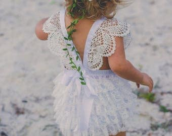 White Satin and Lace Bubble Romper- Toddler Romper- Baptism outfit- Sun Suit- Girls Romper- Baby White Romper