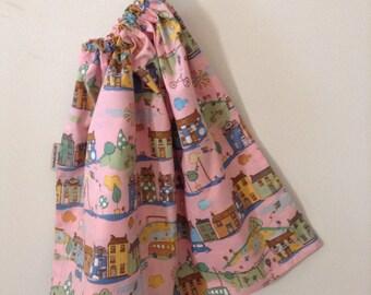 BEST SELLER- Extra Large Girls Pink Town House Drawstring Library Bag, Book Bag, Toy Bag, School Bag, Laundry Bag