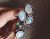 Rose cut gemstone ring // rainbow moonstone / labradorite / sterling silver / made in Canada / dancing leaf design