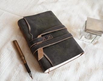 leather journal - personalized custom monogram journal, gray brown leather cover, personalized notebook, vintage style