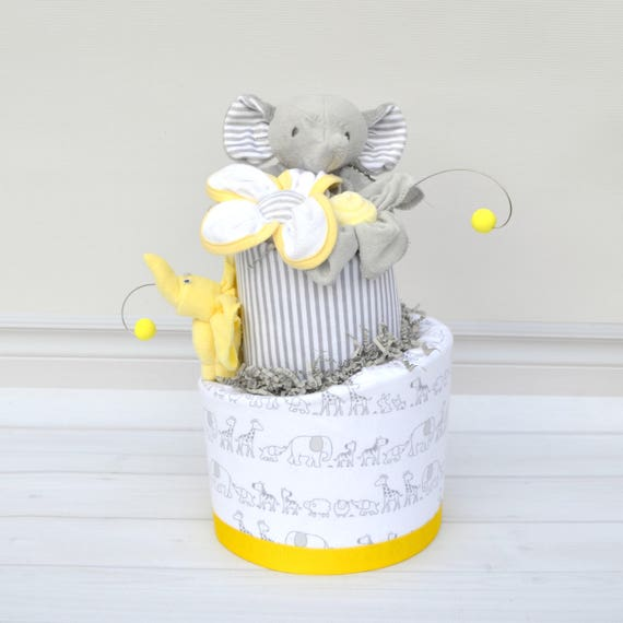 Two Tier Yellow Elephant Baby Cake