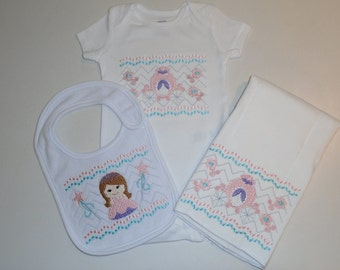 Baby Girl Faux Smocked Princess Bib, Burp Cloth and Onesie Set