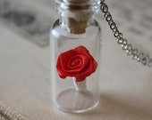 ON SALE Beauty and the Beast Necklace - Rose in a Vial