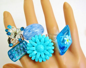 Vintage Lucite Thermoset Aqua Flower Blown Glass 5 Ring Lot Destash Crystal Rhinestones Blues Varied Sizes