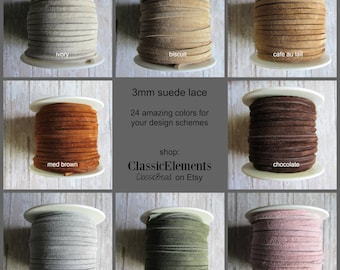 CHOICE of 3mm Suede Lace, Choose Color of Suede lace, Choose Length, Suede Lace, Suede, Leather Lace,