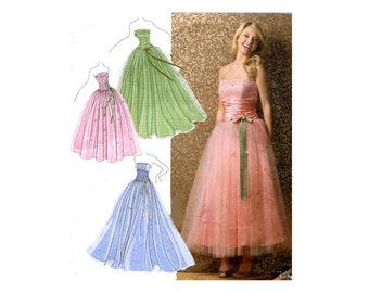 Strapless Formal Gown Pattern Princess Party Dress Full Skirt Fit and Flare Simplicity 3878 Bust 34 36 38 40 42 Jessica McClintock Pattern