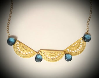 "Gold necklace, ""Cleopatra"" necklace, London Topaz necklace, gold chain, gold jewelry, Blue Topaz jewelry"