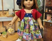 "Patriotic 4th of July ""Picnic Ready"" full 5 piece outfit fits American Girl or similiar sized 18"" doll"